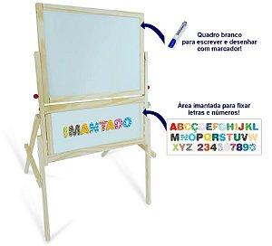 Lousa infantil com cavalete 3 em 1 com quadro magnético
