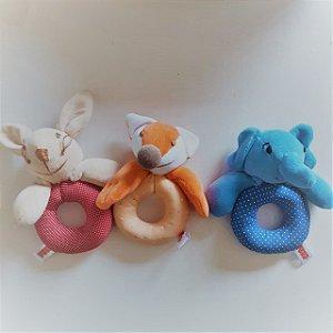 Chocalho de Bichinhos em Tecido - Brinquedos para Bebês