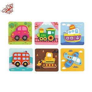 Brinquedo Educativo Kit 6 Quebra-Cabeças Infantil de Transportes