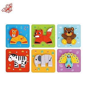 Brinquedo Educativo Kit 6 Quebra-Cabeças Infantil de Animais