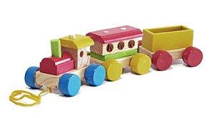 Brinquedo Educativo Trenzinho de Madeira Artesanal