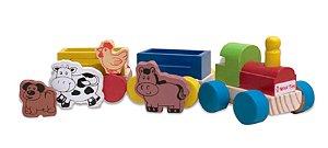 Brinquedo Educativo de Madeira Trem Fazendinha