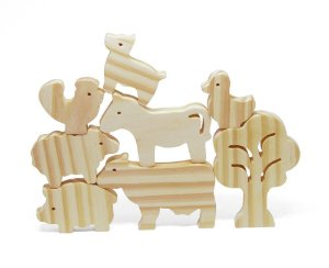 Brinquedo de Montar e Empilhar Animais da Fazenda