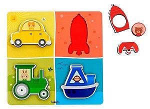 Quebra-Cabeça Infantil de Encaixe Meios de Transporte