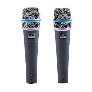 Kit 2 Microfones Waldman Bt570 2p Broadcast Com Fio Bag E Cachimbo