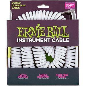 Cabo Para Instrumentos Ernie Ball Ultraflex Cable Espiral 9,14m P10 x P10L Branco