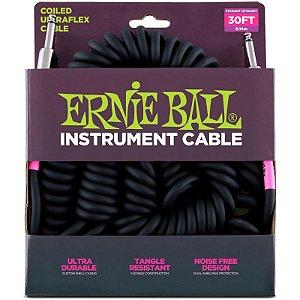 Cabo Para Instrumentos Ernie Ball Ultraflex Cable Espiral 9,14m P10 x P10 Preto