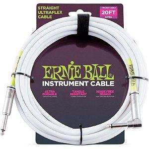 Cabo Para Instrumentos Ernie Ball Ultraflex Cable Reto 6,09m P10 x P10L Branco