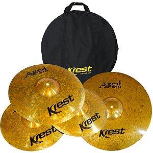 "Kit De Pratos Krest Aged Brass Abset3 Hi Hat 14"" Medium Crash 16"" Ride 20"" Com Bag"