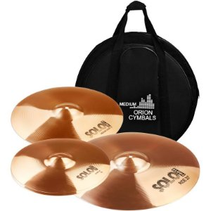"Kit De Pratos Orion Pro Solo Sp70 14"" 16"" 20"" Com Bag"