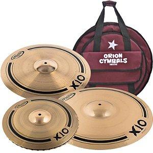 """Kit De Pratos Orion X10 Spx90 14"""" 16"""" 20"""" Com Bag"""