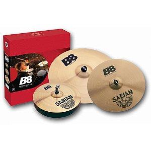 "Kit De Pratos Sabian B8 Performance Set Hi Hat 14"" Crash 16"" Ride 20"" + Splash 10"" Gratis"
