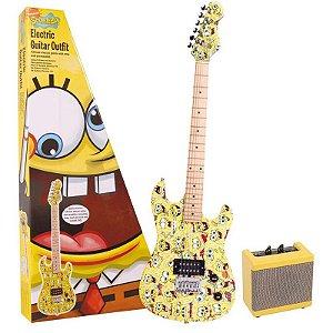 Kit Guitarra Bob Esponja 7/8 Mini Amplificador Cabo Bag E Correia