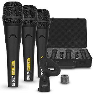 Kit Microfone Skp Pro 33k Dinâmico Com 3 Peças