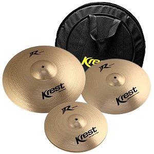 "Kit Prato Krest R Series Rset1 14"" 16"" 20"" Com Bag Luxo"