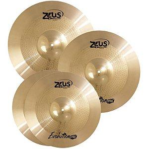 "Kit Prato Zeus Evolution Pro Bronze B10 14"" 16"" 20"" Com Bag"