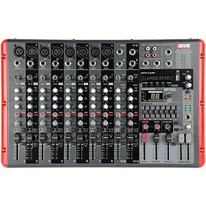 Mesa De Som Amplificada Novik Nvk-1200p Usb Com Bluetooth