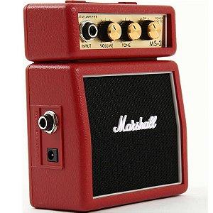 Mini Amplificador Para Guitarra Marshall Ms2r Vermelho