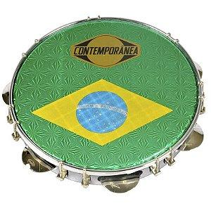 "Pandeiro Contemporânea 31cb Bc Pele Brasil 10"""