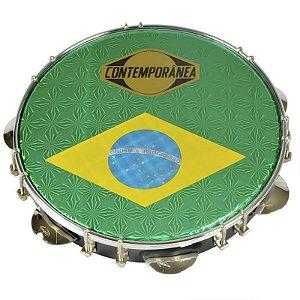 "Pandeiro Contemporânea 31cb Pt Pele Brasil 10"""