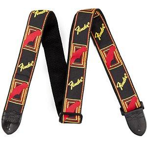 Correia Fender Monograma Preta Com Amarelo E Vermelho