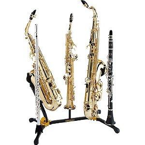 Suporte Duplo Combinado Para Saxofone Alto, Tenor, Soprano, Flauta, Clarinete Hercules Ds538b
