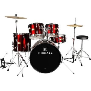 """Bateria Acústica Michael Audition Dm828n Com Bumbo De 22"""" Wr Vinho"""