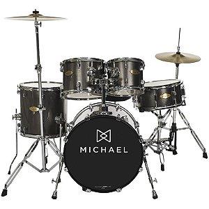 "Bateria Acústica Michael Classic Pro Dm843 Chrome Bumbo 22"""