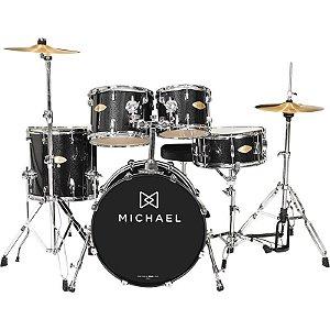 "Bateria Acústica Michael Classic Pro Dm843 Com Bumbo De 22"" Bks Black Sparkle"