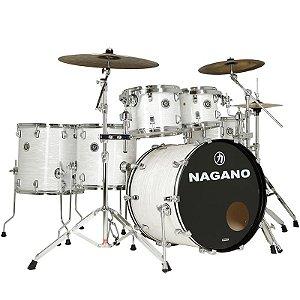 Bateria Acústica Nagano Concert Full Celulloid 22 Brooklin White