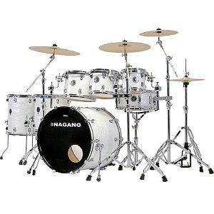 "Bateria Acústica Nagano Concert Traditional Celulloid Brooklin White Bumbo 20"""