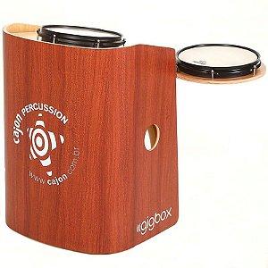 Bateria Compacta Cajón Percussion Gig Box Mogno Tajon