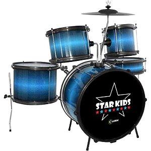 Bateria Infantil Acústica Star Kids Azul Luen Percussion Completa