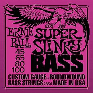 Encordoamento Contrabaixo 4 Cordas 045 Ernie Ball Super Slinky 2834