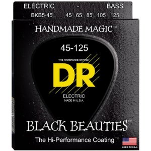 Encordoamento Contrabaixo DR Black Beauties 045 5 Cordas Preto Bkb5-45