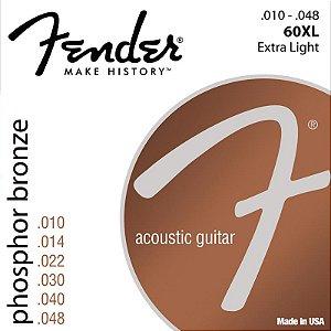 Encordoamento Fender Violão Aço 010 Phosphor Bronze 60Xl