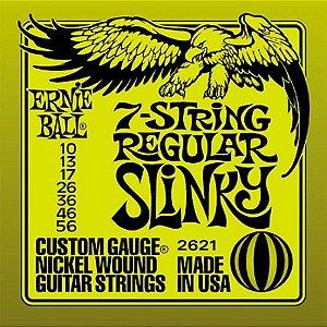 Encordoamento Guitarra 7 Cordas 010 Ernie Ball Regular Slinky 2621