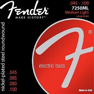 Encordoamento Para Contrabaixo 4 Cordas Aço 0.45 7250ML Niquelado Fender