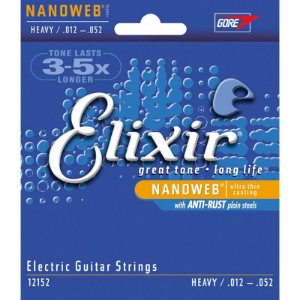 Encordoamento Para Guitarra Elixir Nanoweb Anti Rust Cordas Heavy 012