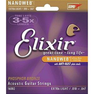 Encordoamento Violão Aço 010 Elixir Nanoweb Phosphor Bronze Extra Light