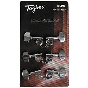 Tarraxa Tagima Blindada Cromada Para Guitarra e Violão Aço Tmh 801 Cr