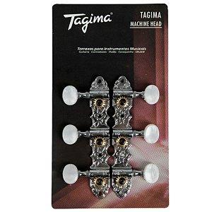 Tarraxa Tagima Blindada Cromada Para Violão Nylon Tmh 831 Cr