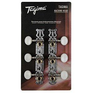 Tarraxa Tagima Cromada Para Violão Nylon Tmh 830 Cr
