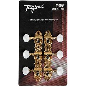 Tarraxa Tagima Dourada Para Violão Nylon Tmh 831 Gd
