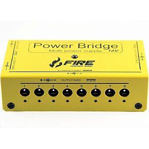 Fonte Para Pedal Fire Power Bridge 18v Para 12 Pedais Amarela