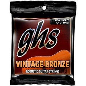 Encordoamento GHS Violão Aço 0.10 Vintage Bronze VN-UL