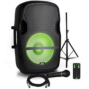 Caixa Amplificada Pro Bass Elevate + Tripé + Microfone 800W RMS