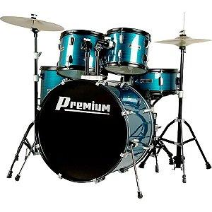 Bateria Premium Dx722 BL Azul Com Banco E Pratos