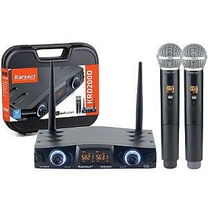 Microfone Sem Fio Mão Karsect KRD200DM Duplo Bastão