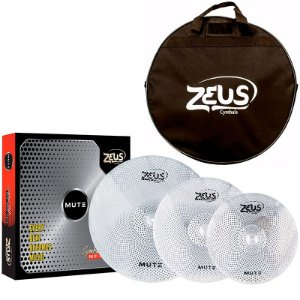 "KIT PRATOS ZEUS MUTE ZMSETC 14"" 16"" 20"" LOW SILENCIOSO C/ BAG"